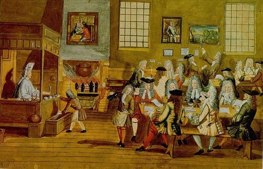 London coffeehouse c. 1705 via Public Domain Review